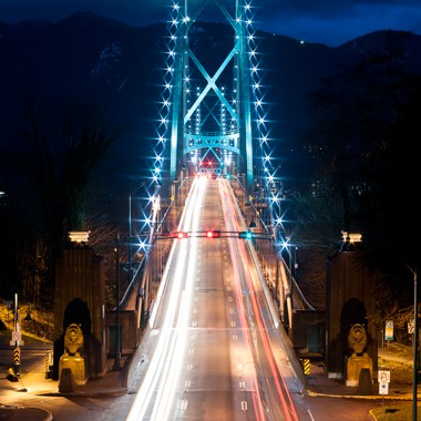 lions gate vancouver nighttime